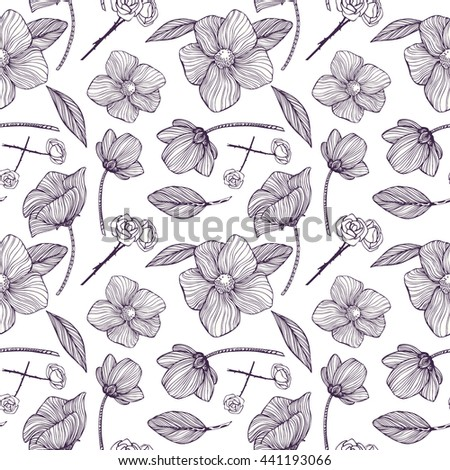 Seamless pattern with Black and white ornamental flowers. Monochrome background: Floral Texture, Decorative roses, peony, abstract elements. Hand drawn vector illustration. - stock vector