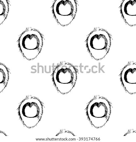 seamless pattern with black and white peacock feather elements. stock vector - stock vector