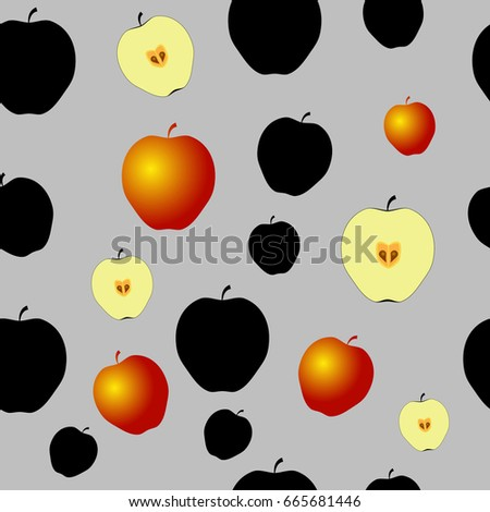 Seamless Pattern with black apples, half of apples and some gold apples on the Grey Background.