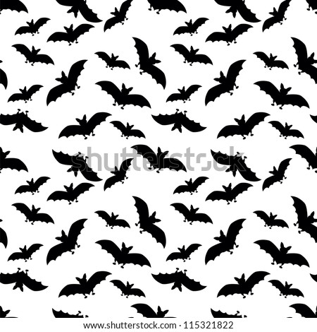 seamless pattern with black bats on white background - stock vector