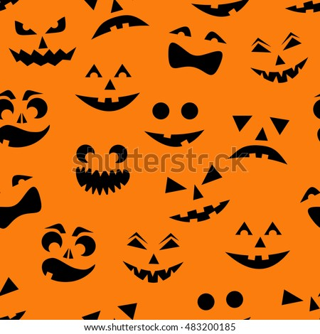 seamless pattern with black halloween pumpkins carved faces silhouettes on orange background can be used - Halloween Pumpkin Carving Faces
