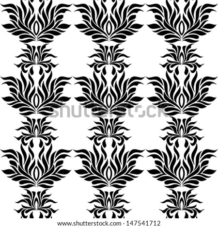Seamless pattern with black tracery on white background