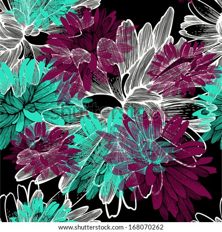 Seamless pattern with blooming chrysanthemums. Vector illustration. - stock vector