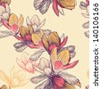 Seamless pattern with blooming magnolia flowers, hand-drawing. Vector illustration. - stock photo