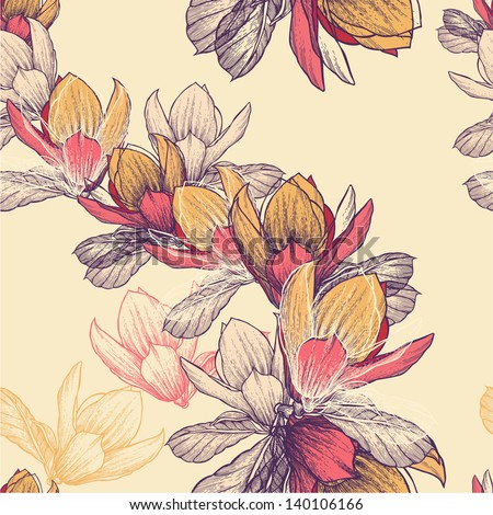 Seamless pattern with blooming magnolia flowers, hand-drawing. Vector illustration. - stock vector