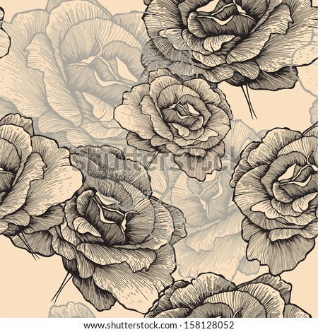 Seamless pattern with blooming roses, hand-drawing. Vector illustration. - stock vector
