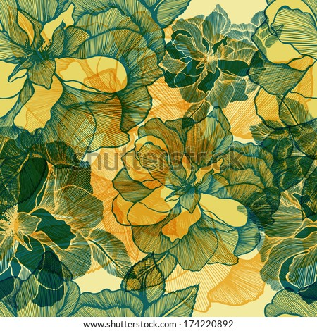 Seamless pattern with blooming roses. Vector illustration. EPS 10 - stock vector