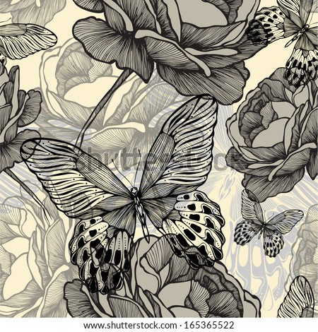 Seamless pattern with blooming wild roses and decorative butterflies, hand-drawing. Vector illustration. - stock vector