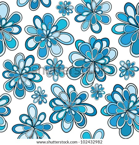 Seamless pattern with blue abstract flowers