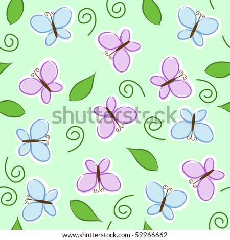 seamless pattern with blue and purple butterflies - stock vector