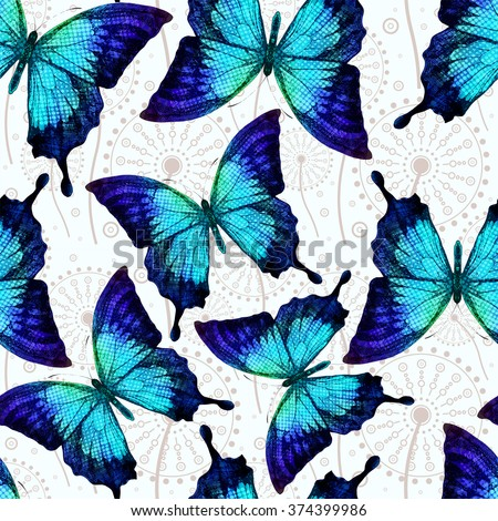 Seamless pattern with blue butterflies and dandelion. Vector illustration, EPS 10 - stock vector