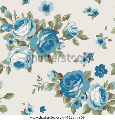 Seamless Pattern With Blue Flowers Vintage Floral Wallpaper Blooming Roses