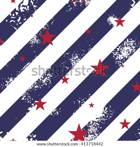 Seamless pattern with blue grunge lines and red stars - stock vector