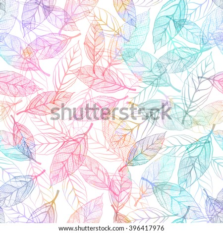 Seamless pattern with blue leaves. Vector, EPS 10. - stock vector