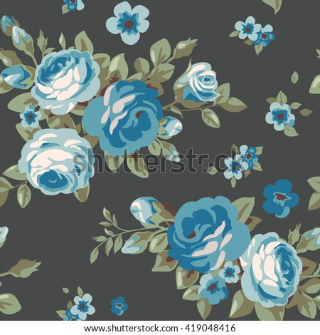 Seamless pattern with blue roses - stock vector