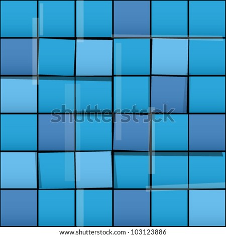 Seamless pattern with blue squares