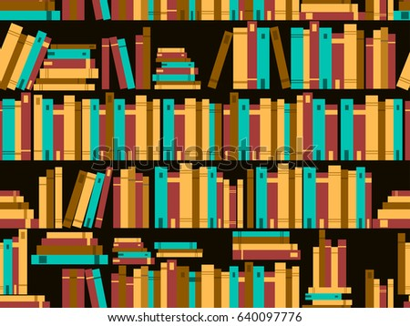 Seamless pattern with books, library bookshelf. Vector illustration