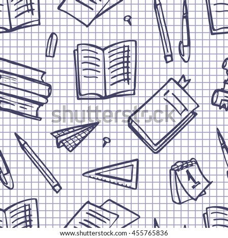 Seamless pattern with books, paper, pencils.