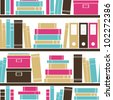 Seamless pattern with books placed on a bookshelf. - stock vector