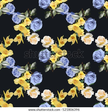 Seamless pattern with bouquet of blue and white roses and yellow gladiolus on black background.