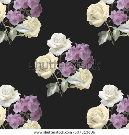 Seamless pattern with bouquet of roses and phlox on black background. Vector illustration.
