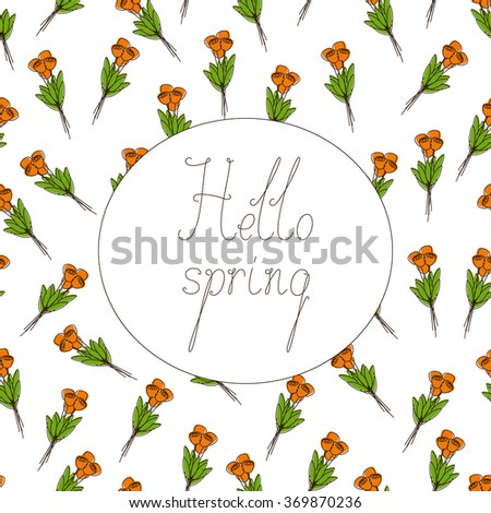 Seamless pattern with bouquets of orange tulips and calligraphic lettering hello spring in white colored oval with brown contour isolated on white background - stock vector