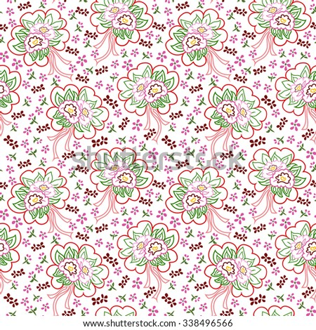 Seamless pattern with bouquets of small flowers on a white background.