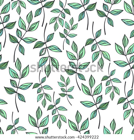 Seamless pattern with branches and leaves. Vector.