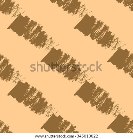 Seamless pattern with brown thick brush strokes. Geometric texture. Abstract background.  - stock vector
