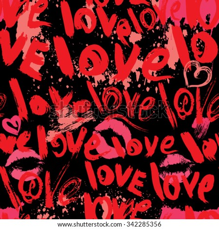 Seamless pattern with brush strokes and scribbles in heart shapes, kiss prints and words LOVE - Valentines Day Background in grunge style. - stock vector