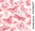 Seamless pattern with butterflies - stock vector