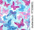 Seamless pattern with butterflies in blue and pink - stock photo