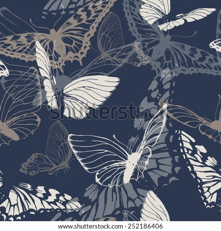 Seamless pattern with butterflies. Vector illustration  - stock vector