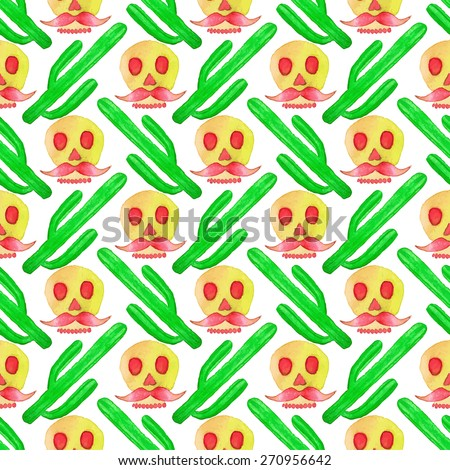 Seamless pattern with cactus and skull. Hand-drawn background. Vector illustration. Real watercolor drawing. Cinco de mayo, Day of the Dead - stock vector
