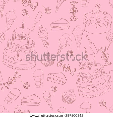 Seamless pattern with cake, ice cream and sweets on pink