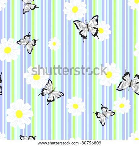 Seamless pattern with camomiles and butterflies. Vector illustration.