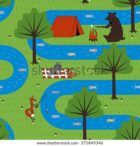 Seamless pattern with camping forest animals. Vector illustration