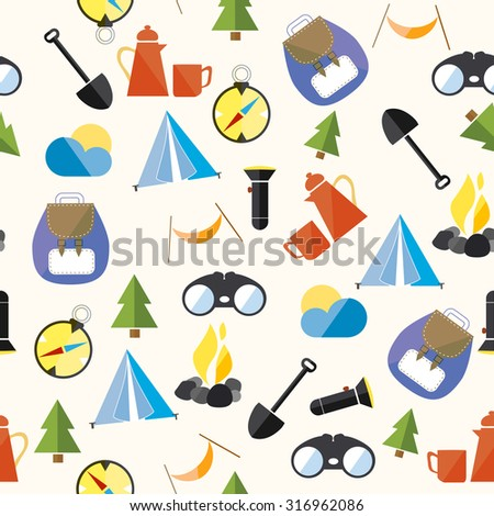 Seamless pattern with camping items - stock vector