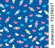 Seamless pattern with candies and hearts - stock vector