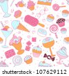 Seamless pattern with candies and sweets  on white - stock vector
