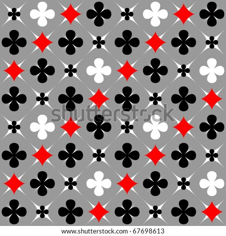 Seamless pattern with card suits motif. Stylish graphic design. Vector illustration. - stock vector