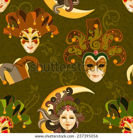 Seamless pattern with carnival venetian colorful mask on traditional green background - stock vector