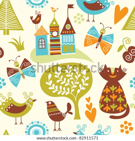 seamless pattern with cartoon animals and fairy-tale elements - stock vector