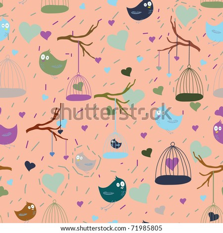 seamless pattern with cartoon bird & cage - stock vector
