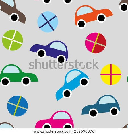 Seamless pattern with cartoon cars - stock vector