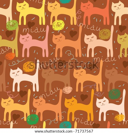 seamless pattern with cartoon cat and herat - stock vector