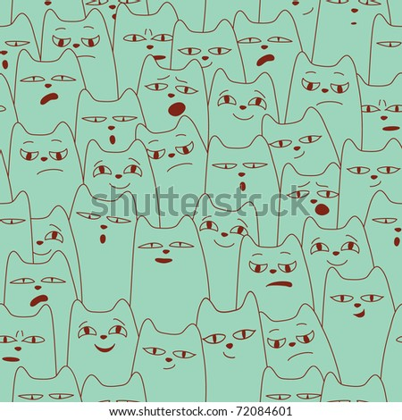 seamless pattern with cartoon cat. spring background - stock vector