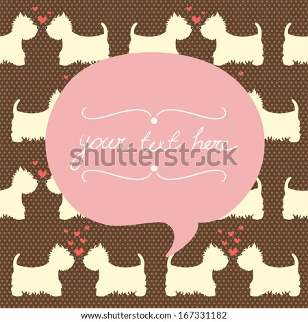 Seamless pattern with cartoon dogs silhouettes on polka dot background. Cute and lovely West highland terrier couples with hearts. Valentine card design.  - stock vector