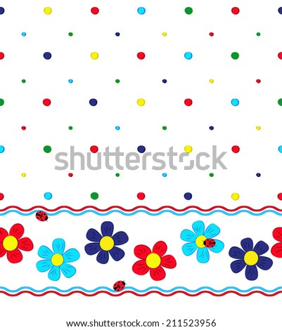seamless pattern with cartoon flowers, bubbles, ladybugs and wavy lines on white background, vector illustration - stock vector