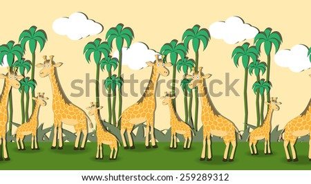 Seamless pattern with cartoon giraffes in the grass